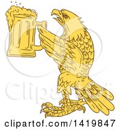 Clipart Of A Yellow Sketched Bald Eagle Holding Up A Beer Mug Royalty Free Vector Illustration