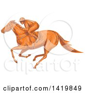 Clipart Of A Sketched Orange Jockey Racing A Horse Royalty Free Vector Illustration