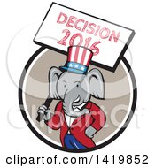 Clipart Of A Retro Cartoon Political Republican Elephant Holding A Decision 2016 Sign Emerging From A Circle Royalty Free Vector Illustration