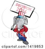 Clipart Of A Retro Cartoon Political Republican Elephant Holding A Decision 2016 Sign Royalty Free Vector Illustration
