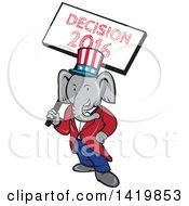 Retro Cartoon Political Republican Elephant Holding A Decision 2016 Sign