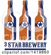 Clipart Of Retro Long Neck Beer Bottles With Stars Over Text Royalty Free Vector Illustration