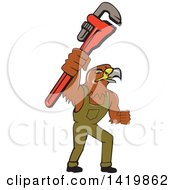 Clipart Of A Cartoon Hawk Plumber Man Holding Up A Monkey Wrench Royalty Free Vector Illustration
