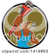 Clipart Of A Cartoon Hawk Plumber Man Holding Up A Monkey Wrench Emerging Rom A Circle Royalty Free Vector Illustration