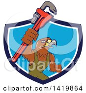 Clipart Of A Cartoon Hawk Plumber Man Holding Up A Monkey Wrench Emerging Rom A Blue And White Shield Royalty Free Vector Illustration by patrimonio