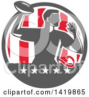 Clipart Of A Retro Male Flag Football Player Passing In A Flag Circle Royalty Free Vector Illustration