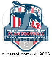Clipart Of A Retro Male Flag Football Player Passing Over Text In A Flag Crest Royalty Free Vector Illustration