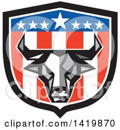 Clipart Of A Low Polygon Style Bull Head Over An American Themed Shield Royalty Free Vector Illustration