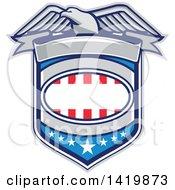 Retro Bald Eagle Over An American Shield