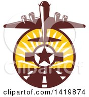 Clipart Of A Retro WWII B 17 Flying Fortress Bomber Taking Off Over A Star And Runway Royalty Free Vector Illustration