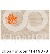 Retro Orange Wolf Heads Facing Front And To The Sides Over Text And Brown Rays Background Or Business Card Design