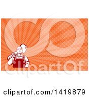 Clipart Of A Cartoon Male Locksmith Carrying A Giant Key Over His Shoulder And Orange Rays Background Or Business Card Design Royalty Free Illustration by patrimonio