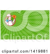 Retro Happy Chubby Male Chef Spinning A Football On His Finger And Green Rays Background Or Business Card Design