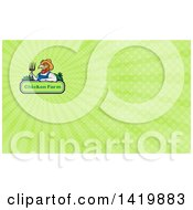 Retro Cartoon Farmer Rooster Man Wearing Overalls And A Straw Hat Holding A Pitchfork Over A Chicken Farm Sign And Green Rays Background Or Business Card Design