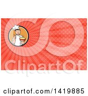 Clipart Of A Retro Chef Holding Up A Finger And A Bowl Of Hot Noodle Soup And Red Rays Background Or Business Card Design Royalty Free Illustration