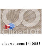 Retro American Stars And Stripes Buffalo And Brown Rays Background Or Business Card Design