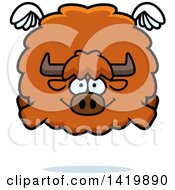 Clipart Of A Cartoon Chubby Yak Flying Royalty Free Vector Illustration by Cory Thoman