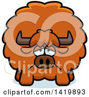 Clipart Of A Cartoon Depressed Chubby Yak Royalty Free Vector Illustration by Cory Thoman