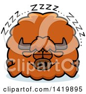 Clipart Of A Cartoon Chubby Yak Sleeping Royalty Free Vector Illustration by Cory Thoman