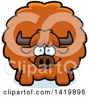 Clipart Of A Cartoon Chubby Yak Royalty Free Vector Illustration