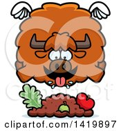 Clipart Of A Cartoon Chubby Yak Flying And Eating Royalty Free Vector Illustration by Cory Thoman