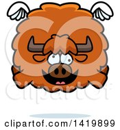 Clipart Of A Cartoon Chubby Crazy Yak Flying Royalty Free Vector Illustration by Cory Thoman