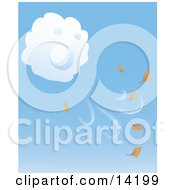Puffy White Cloud Blowing Fall Leaves Into The Air Clipart Illustration
