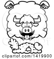 Clipart Of A Cartoon Black And White Lineart Chubby Yak Flying And Eating Royalty Free Vector Illustration by Cory Thoman