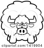 Clipart Of A Cartoon Black And White Lineart Depressed Chubby Yak Royalty Free Vector Illustration