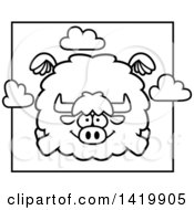 Clipart Of A Cartoon Black And White Lineart Chubby Yak Flying Royalty Free Vector Illustration by Cory Thoman