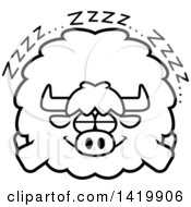 Clipart Of A Cartoon Black And White Lineart Chubby Yak Sleeping Royalty Free Vector Illustration by Cory Thoman