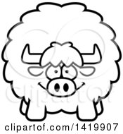 Clipart Of A Cartoon Black And White Lineart Chubby Yak Royalty Free Vector Illustration by Cory Thoman