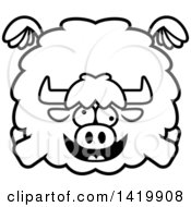 Clipart Of A Cartoon Black And White Lineart Chubby Crazy Yak Flying Royalty Free Vector Illustration by Cory Thoman