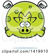 Clipart Of A Cartoon Chubby Triceratops Dinosaur Flying Royalty Free Vector Illustration by Cory Thoman
