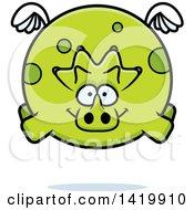 Cartoon Chubby Triceratops Dinosaur Flying