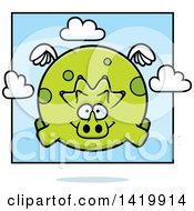 Cartoon Chubby Triceratops Dinosaur Flying