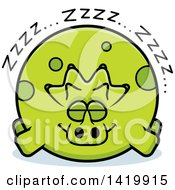 Cartoon Chubby Triceratops Dinosaur Sleeping