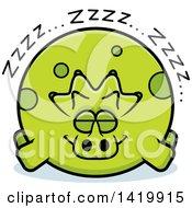 Cartoon Chubby Triceratops Dinosaur Sleeping