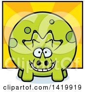 Cartoon Chubby Triceratops Dinosaur Over Rays