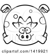 Cartoon Black And White Lineart Chubby Triceratops Dinosaur Flying