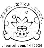 Cartoon Black And White Lineart Chubby Triceratops Dinosaur Sleeping