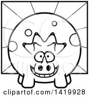 Cartoon Black And White Lineart Chubby Triceratops Dinosaur Over Rays