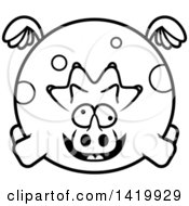 Cartoon Black And White Lineart Chubby Crazy Triceratops Dinosaur Flying