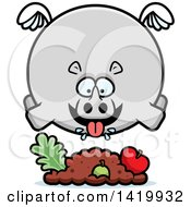 Clipart Of A Cartoon Chubby Rhino Flying And Eating Royalty Free Vector Illustration by Cory Thoman