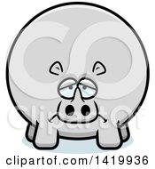 Clipart Of A Cartoon Depressed Chubby Rhino Royalty Free Vector Illustration