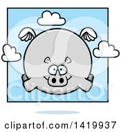 Clipart Of A Cartoon Chubby Rhino Flying Royalty Free Vector Illustration by Cory Thoman