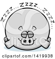 Clipart Of A Cartoon Chubby Rhino Sleeping Royalty Free Vector Illustration by Cory Thoman
