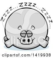 Clipart Of A Cartoon Chubby Rhino Sleeping Royalty Free Vector Illustration
