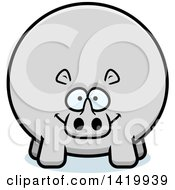 Clipart Of A Cartoon Chubby Rhino Royalty Free Vector Illustration by Cory Thoman