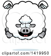 Clipart Of A Cartoon Chubby Crazy Sheep Flying Royalty Free Vector Illustration